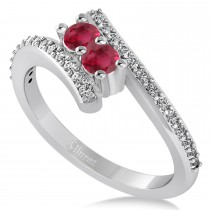 Ruby Two Stone Ring w/Diamonds 14k White Gold (0.50ct)