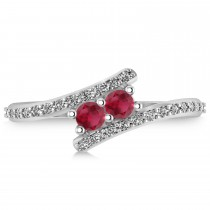 Ruby Two Stone Ring w/Diamonds 14k White Gold (0.50ct)