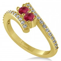 Ruby Two Stone Ring w/Diamonds 14k Yellow Gold (0.50ct)