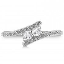 White Topaz Two Stone Ring w/Diamonds 14k White Gold (0.50ct)