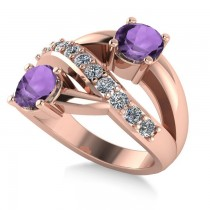 Amethyst & Diamond Ever Together 2-Stone Ring 14k Rose Gold (2.00ct)