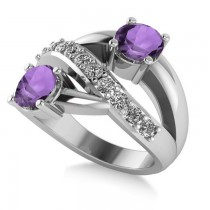 Amethyst & Diamond Ever Together 2-Stone Ring 14k White Gold (2.00ct)