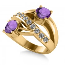 Amethyst & Diamond Ever Together 2-Stone Ring 14k Yellow Gold (2.00ct)