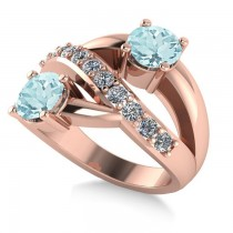Aquamarine & Diamond Ever Together Ring 14k Rose Gold (2.00ct)