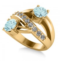Aquamarine & Diamond Ever Together Ring 14k Yellow Gold (2.00ct)