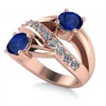 Blue Sapphire & Diamond Ever Together Ring 14k Rose Gold (2.00ct)