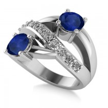 Blue Sapphire & Diamond Ever Together Ring 14k White Gold (2.00ct)