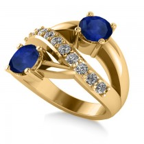 Blue Sapphire & Diamond Ever Together Ring 14k Yellow Gold (2.00ct)