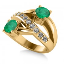 Emerald & Diamond Ever Together Ring 14k Yellow Gold (2.00ct)
