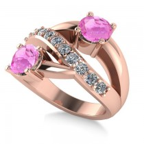 Pink Sapphire & Diamond Ever Together Ring 14k Rose Gold (2.00ct)