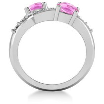 Pink Sapphire & Diamond Ever Together Ring 14k White Gold (2.00ct)