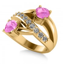 Pink Sapphire & Diamond Ever Together Ring 14k Yellow Gold (2.00ct)