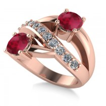 Ruby & Diamond Ever Together 2-Stone Ring 14k Rose Gold (2.00ct)