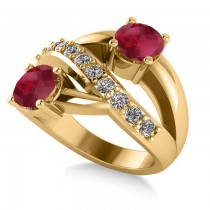 Ruby & Diamond Ever Together 2-Stone Ring 14k Yellow Gold (2.00ct)