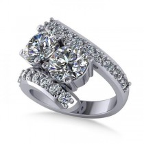 Luxury Diamond Accented Tension Two Stone Ring 14k White Gold (4.00ct)
