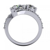Luxury Diamond Accented Tension Two Stone Ring 14k White Gold (4.00ct)|escape