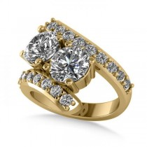 Luxury Diamond Accented Tension Two Stone Ring 14k Yellow Gold 4.00ct