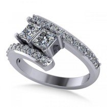 Princess Cut Two-Stone Diamond Ring w/ Accents 14k White Gold (1.24ct)