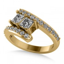 Princess Cut Two-Stone Diamond Ring w/ Accents 14k Yellow Gold 1.24ct
