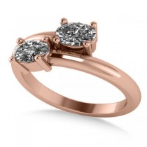 Oval Cut Solitaire Diamond Two Stone Ring 14k Rose Gold (0.86ct)