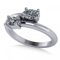 Oval Cut Solitaire Diamond Two Stone Ring 14k White Gold (0.86ct)