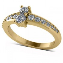 Diamond Accented Two Stone Ring 14k Yellow Gold (0.51ct)