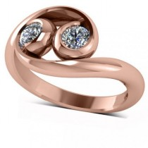 Diamond Solitaire Swirl Two Stone Ring 14k Rose Gold (0.50ct)