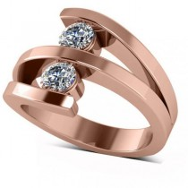 Diamond Triple Shank Two Stone Ring 14k Rose Gold (0.66ct)