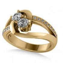 Diamond Split Shank Two Stone Ring 14k White Gold (0.68ct)