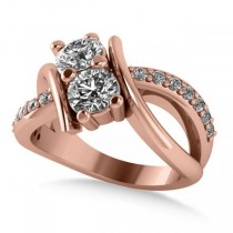 Diamond Bypass Split Shank Two Stone Ring 14k Rose Gold (1.28ct)