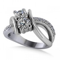 Diamond Bypass Split Shank Two Stone Ring 14k White Gold (1.28ct)