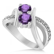 Amethyst Diamond Bypass Split Two Stone Ring 14k White Gold (1.28ct)