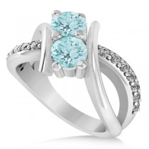 Aquamarine Diamond Bypass Split Two Stone Ring 14k White Gold (1.28ct)