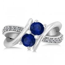 Blue Sapphire Diamond Bypass Split Two Stone Ring 14k White Gold (1.28ct)|escape
