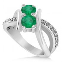 Emerald Diamond Bypass Split Shank Two Stone Ring 14k White Gold (1.28ct)