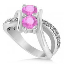 Pink Sapphire Diamond Bypass Split Two Stone Ring 14k White Gold (1.28ct)