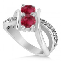 Ruby Diamond Bypass Split Shank Two Stone Ring 14k White Gold (1.28ct)