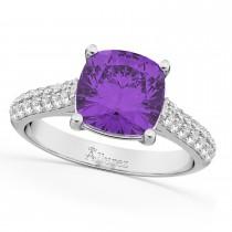 Cushion Cut Amethyst & Diamond Engagement Ring 14k White Gold (4.42ct)