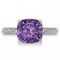 Cushion Cut Amethyst & Diamond Engagement Ring 14k White Gold (4.42ct)