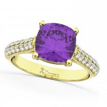 Cushion Cut Amethyst & Diamond Engagement Ring 14k Yellow Gold (4.42ct)