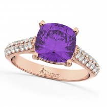 Cushion Cut Amethyst & Diamond Engagement Ring 18k Rose Gold (4.42ct)
