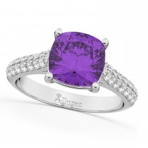 Cushion Cut Amethyst & Diamond Engagement Ring 18k White Gold (4.42ct)