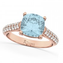Cushion Cut Aquamarine & Diamond Engagement Ring 14k Rose Gold (4.42ct)