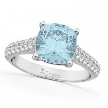 Cushion Cut Aquamarine & Diamond Engagement Ring 18k White Gold (4.42ct)