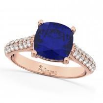 Cushion Cut Blue Sapphire & Diamond Ring 14k Rose Gold (4.42ct)