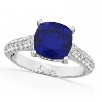 Cushion Cut Blue Sapphire & Diamond Ring 14k White Gold (4.42ct)