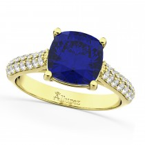 Cushion Cut Blue Sapphire & Diamond Ring 18k Yellow Gold (4.42ct)