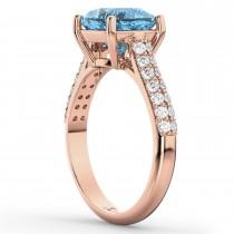 Cushion Cut Blue Topaz & Diamond Ring 14k Rose Gold (4.42ct)
