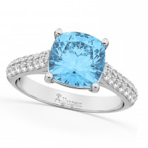 Cushion Cut Blue Topaz & Diamond Ring 14k White Gold (4.42ct)