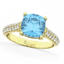 Cushion Cut Blue Topaz & Diamond Ring 14k Yellow Gold (4.42ct)